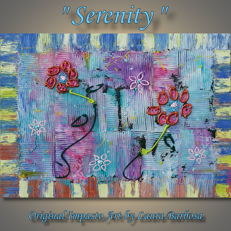 Serenity by Laura Barbosa 2013 flower abstract art - Mixed Media