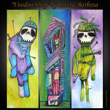 Voodoo Shop by Laura Barbosa - 3 Piece Artwork - Triptych 2013
