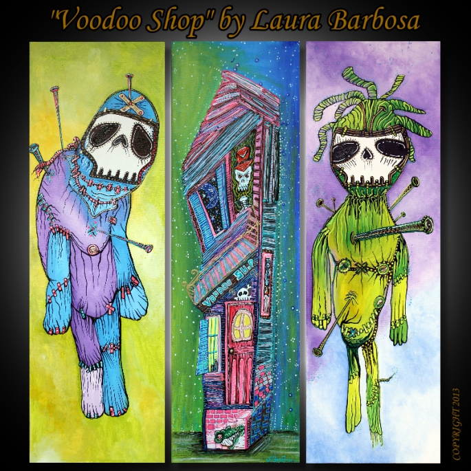 Voodoo Shop by Laura Barbosa - 3 Piece Artwork - Triptych 2013