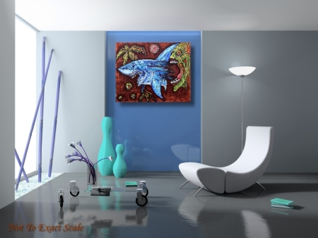 Zombie Eats Shark by Laura Barbosa 2013 - 24x30 - blue wall art