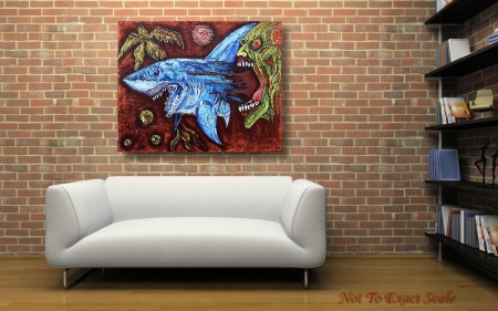 Zombie Eats Shark by Laura Barbosa 2013 - 24x30- horror art
