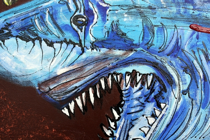 Zombie Eats Shark by Laura Barbosa 2013 - 24x30- shark head