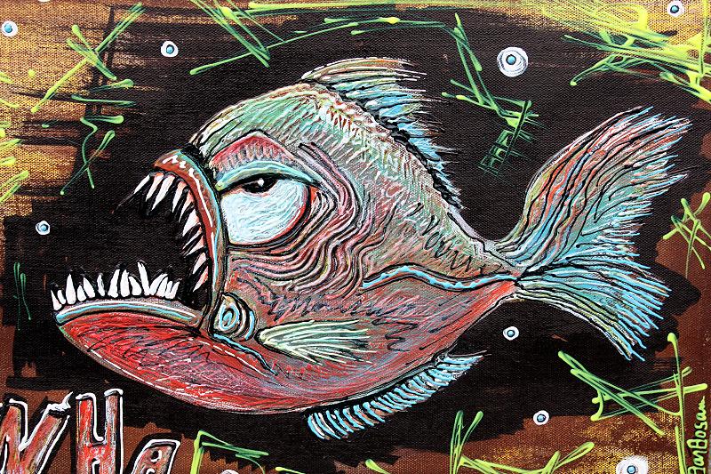 Zombie VS Piranha by Laura Barbosa - fish