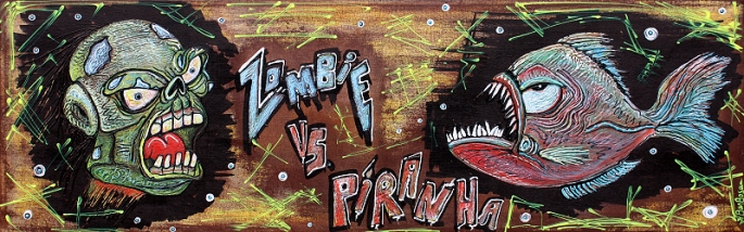 Zombie VS Piranha by Laura Barbosa