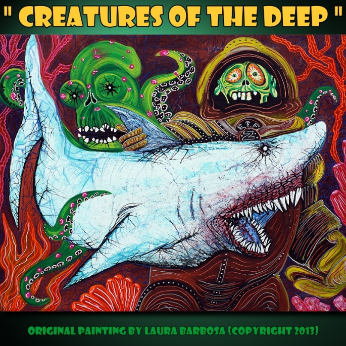 Creatures Of The Deep by Laura Barbosa 2013 - 24x30 - Street Art