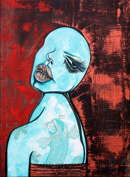 Turquoise Girl by Laura Barbosa 2013 - Figurative Art