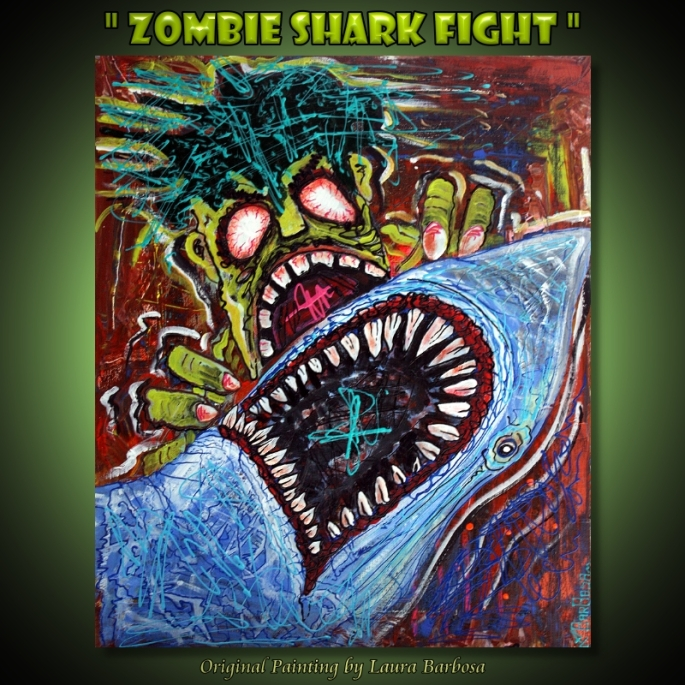 Zombie Shark Fight by Laura Barbosa 2013 - 20x24 - Concept Art