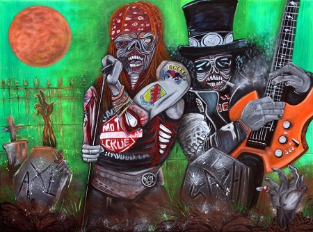 November Rain by Laura Barbosa 2013 - 36x48 - Guns and Roses as Zombies Original Painting 800
