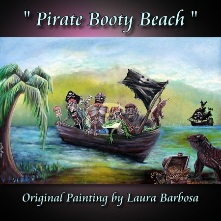 Pirate Booty Beach by Laura Barbosa 2013 - 24x36 - original painting - boat