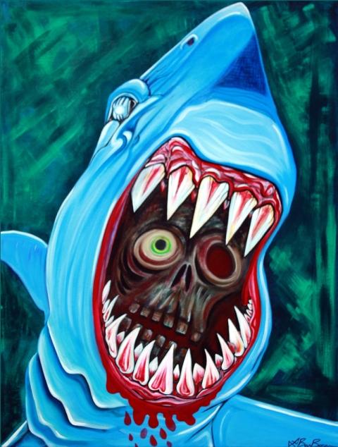 Great WHite Gobstopper - Shark Vs Zombie Painting 30x40 Laura Barbosa