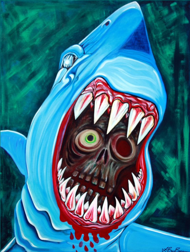 Great WHite Gobstopper - Shark Vs Zombie Painting 30x40 Laura Barbosa