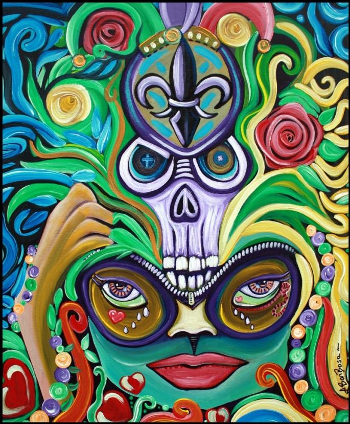 Mardi Gras Magic by Laura Barbosa - Original Painting - Folk Art - Macabre - ebay auction