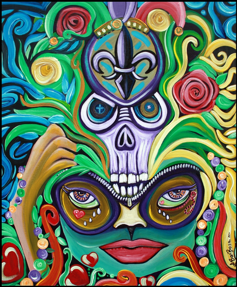 Mardi Gras Magic by Laura Barbosa - Original Painting - Folk Art - Macabre - ebay auction
