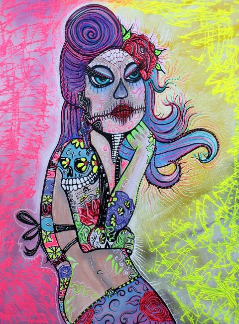 Maria De Los Muertos by Laura Barbosa Reproduction of Original Painting 2012 18x24