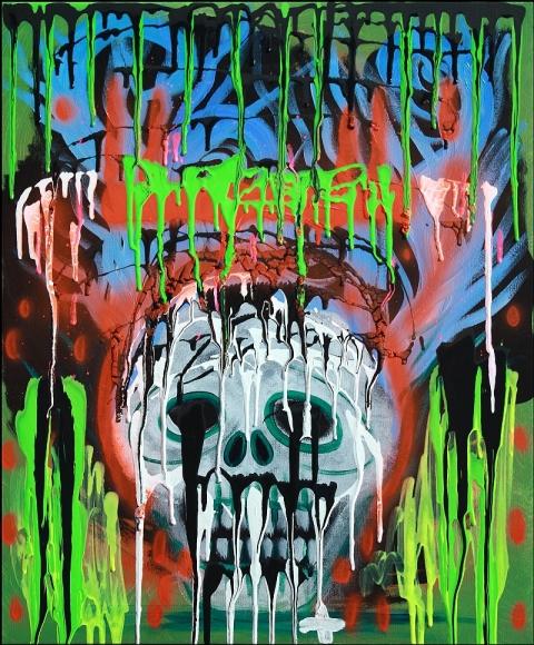 Siko Skull Painting by Laura Barbosa - Original 22 x 28 Gothic Fantasy Art