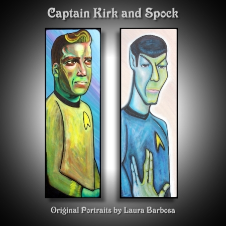 Spock and Kirk Portrait Pop Art by Laura Barbosa for Etsy
