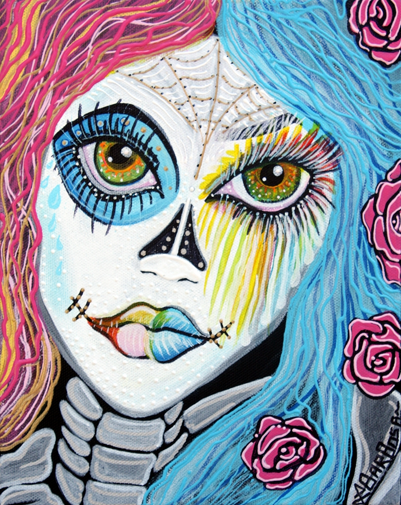 Over The Rainbow by Laura Barbosa 2013 - sugar skull art