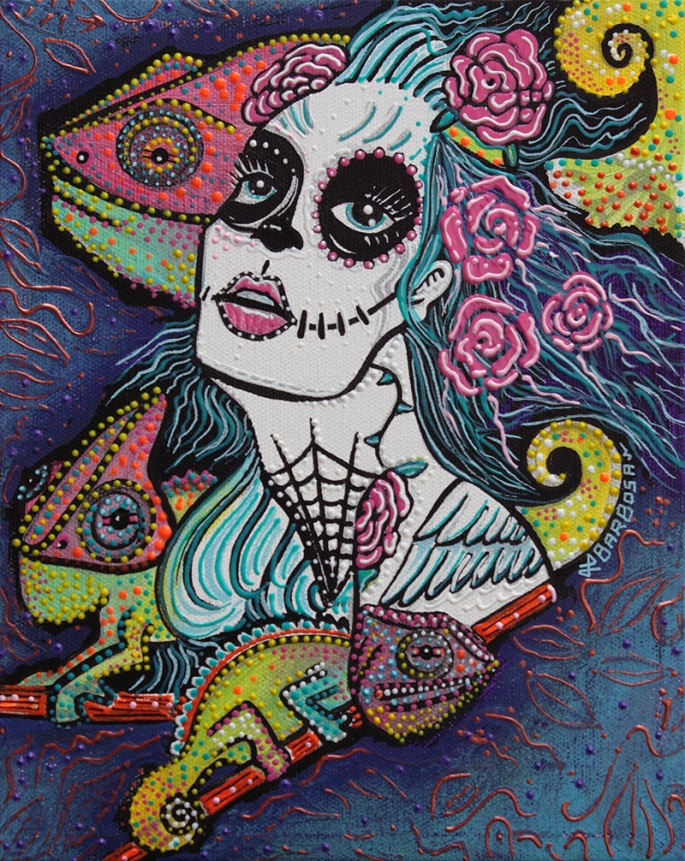 Chameleon Sugar Skull by Laura Barbosa 2013 - display