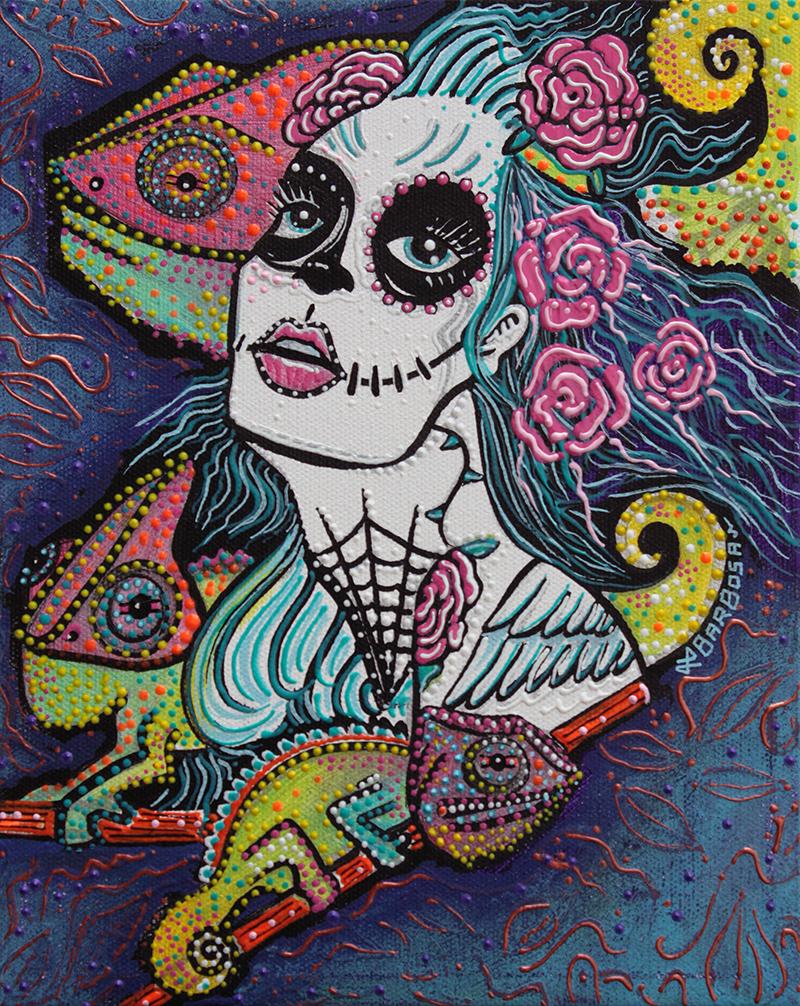 Chameleon Sugar Skull by Laura Barbosa 2013 - display