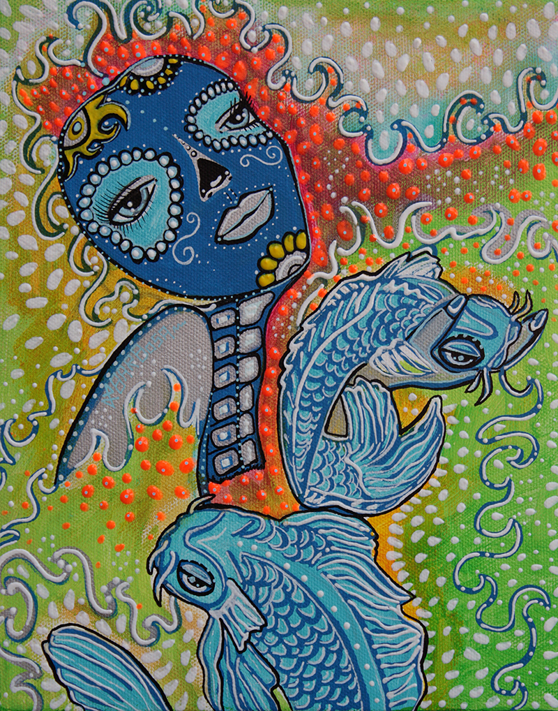 Koi Fish Sugar Skull by Laura Barbosa - display