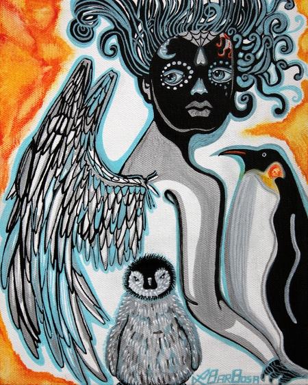Penguin Guardian, Sugar Skull Art by Laura Barbosa 2013 - Display