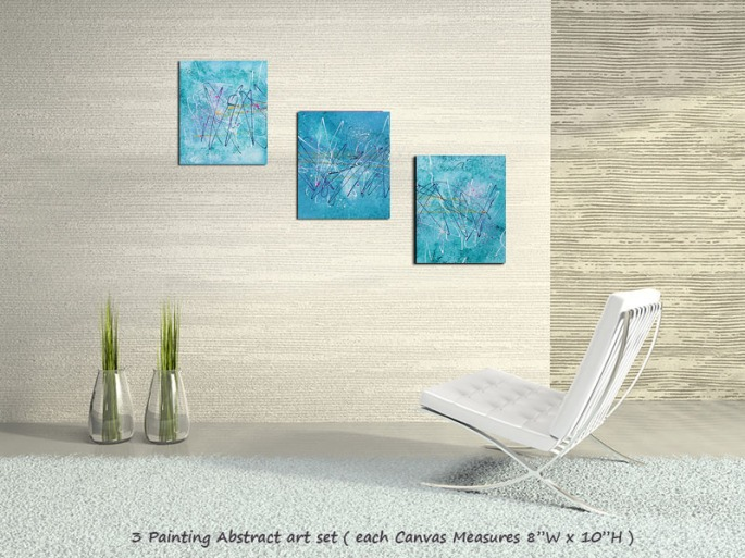 blue abstract art by Laura Barbosa - home decor