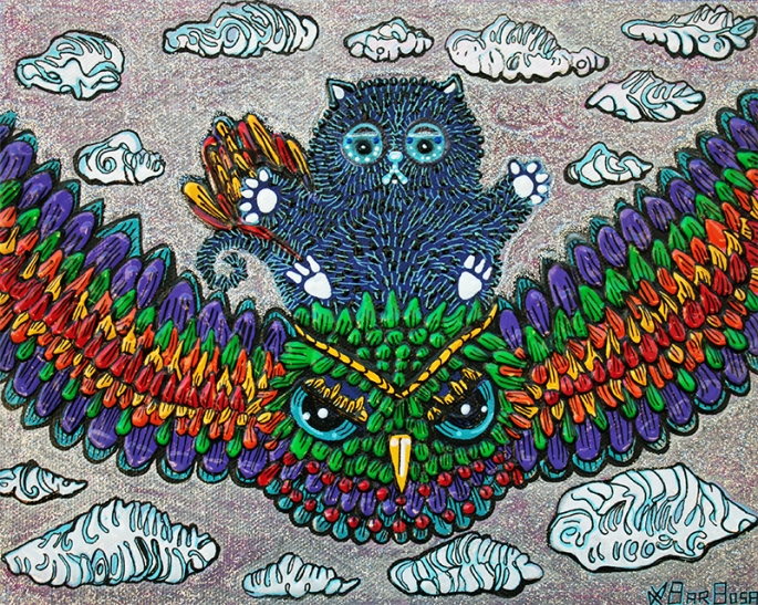 Rainbow Owl Ride by Laura Barbosa - display