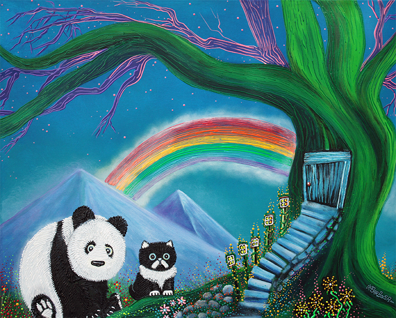 The Panda The Cat and The Rainbow by Laura Barbosa - display