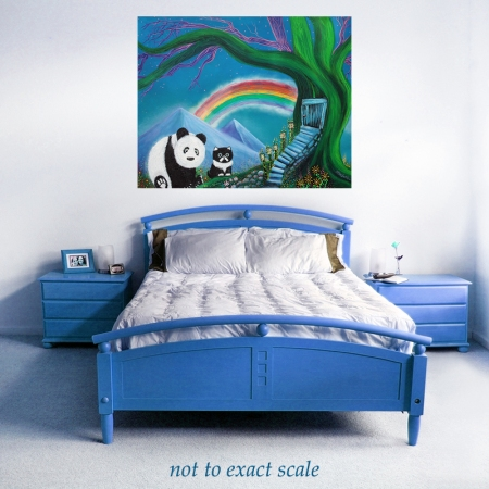 The Panda The Cat and The Rainbow by Laura Barbosa - wall art