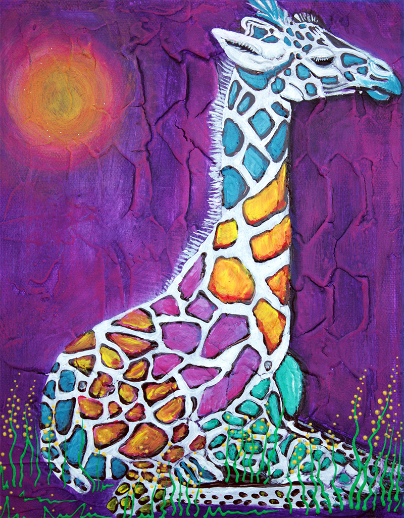 Giraffe of Many Colors by Laura Barbosa - display