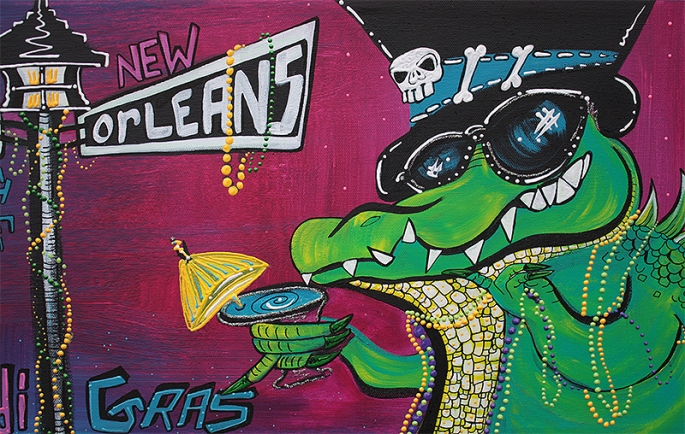 Mardi Gras Celebration by Laura Barbosa = gator