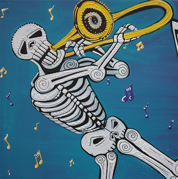 Mardi Gras Celebration by Laura Barbosa = skeleton musician