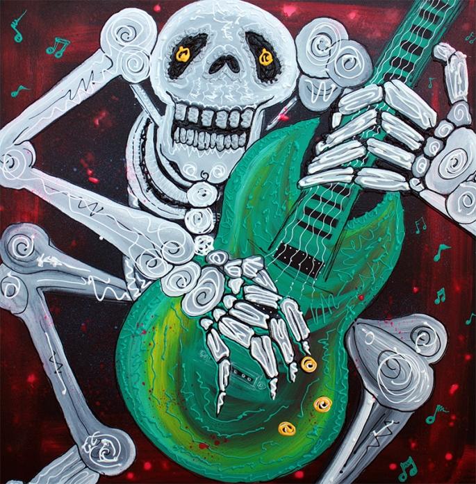 Skeleton Guitarist by Laura Barbosa - display