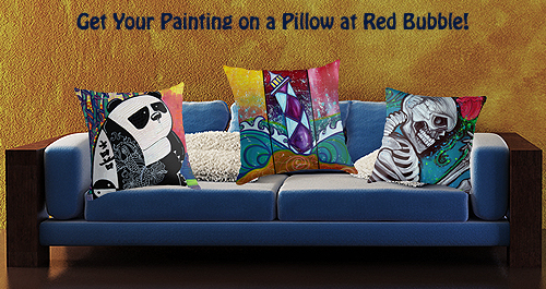 Red Bubble Pillow Ad
