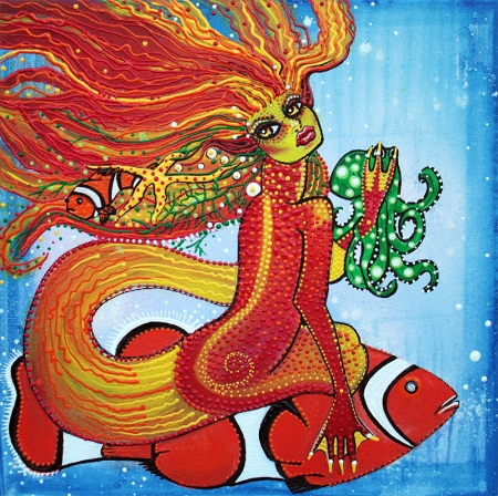 Clownfish Mermaid by Laura Barbosa - display