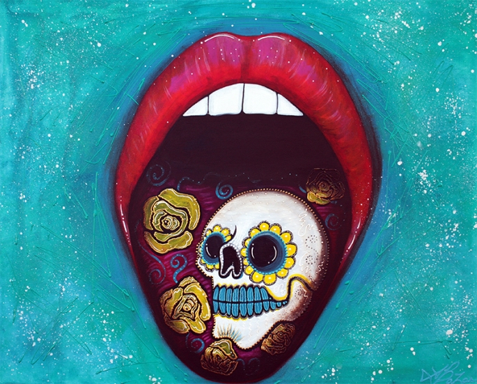 Mouth Full Of Sugar Skull by Laura Barbosa - display