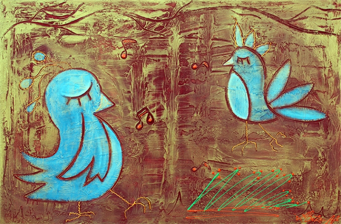 Blue Birds by Laura Barbosa - display