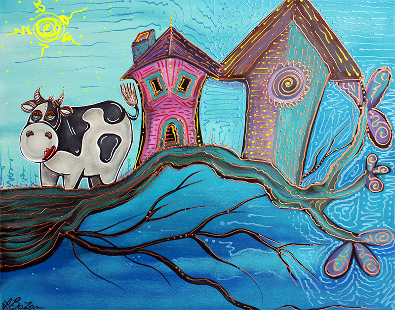Cow In A Tree by Laura Barbosa - display