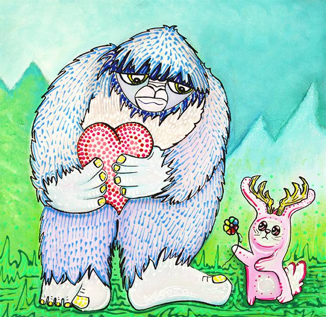 The Bigfoot and The Jackalope by Laura Barbosa - display